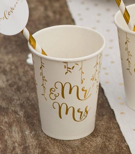 10 gobelets jetables carton mariage Mr & Mrs dorés