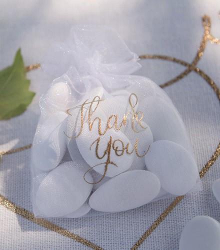 6 sacs à dragées coton thank you blanc et doré