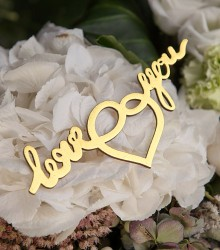 Autocollants mariage en bois love you/just married dorés