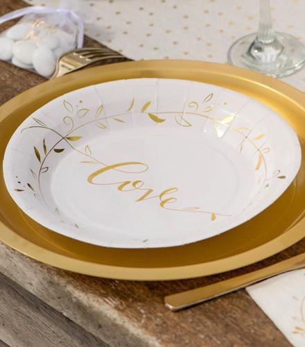 10 assiettes jetables carton mariage dorées love
