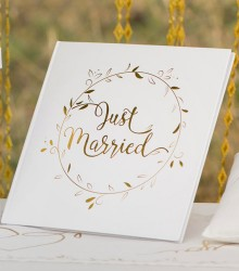 Livre d'or mariage chic just married doré en papier