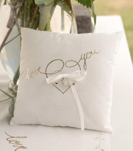 Porte alliances mariage coton et satin blanc love you