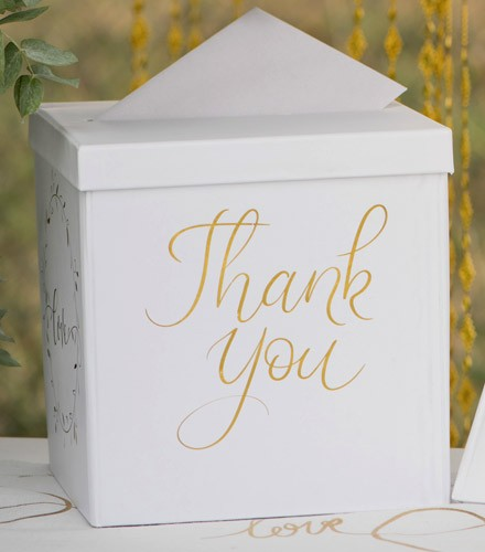 Tirelire mariage chic carrée en carton blanche et dorée