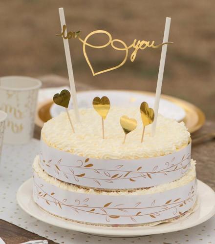 Kit Décoration Gâteau Mariage Assortis Dorées Et Blanches