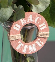 "Suspension ronde ""beach time"" en bois bleu/blush"