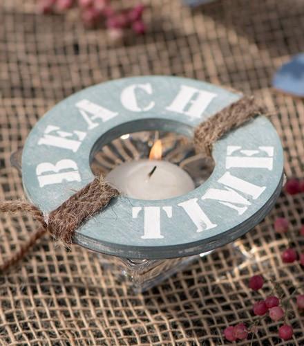 "Suspension ronde ""beach time"" en bois bleu/blush"