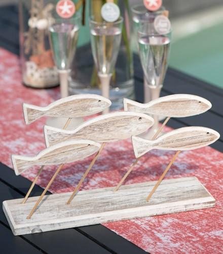 Centre de table marin poissons en bois