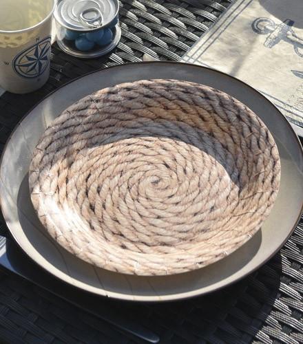10 assiettes jetables carton ronde corde