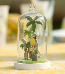 Suspension cloche tropicale en verre et bois