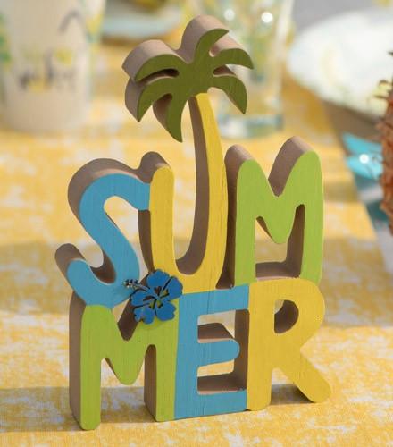 Centre de table summer coloré en bois