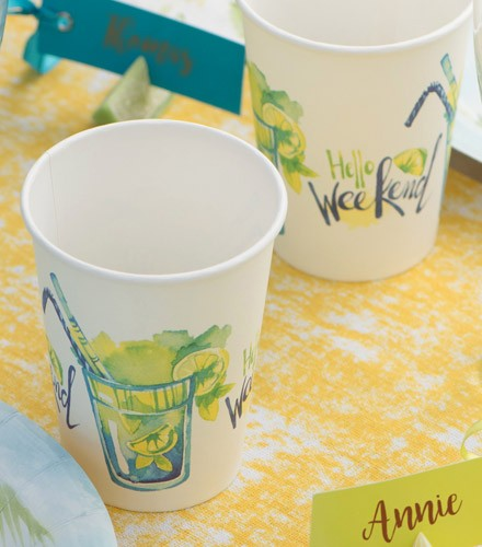10 gobelets jetables carton cocktail citron