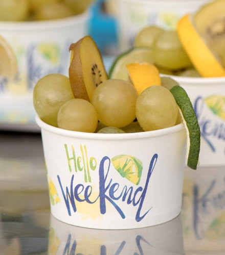 """10 ramequins jetables carton """"hello week end"""""""