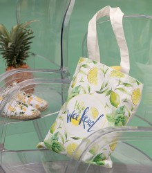 "Sac coton ""hello week end"" imprimé"