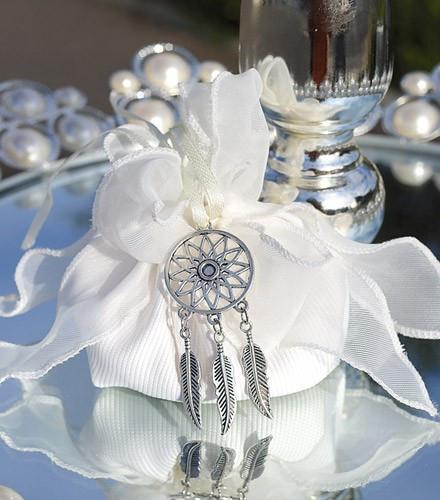 5 pochons à dragées tissu blanc avec voilage