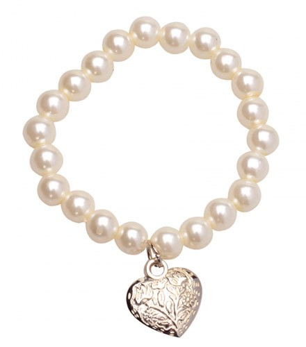 Bracelet plastique perles et coeur argenté