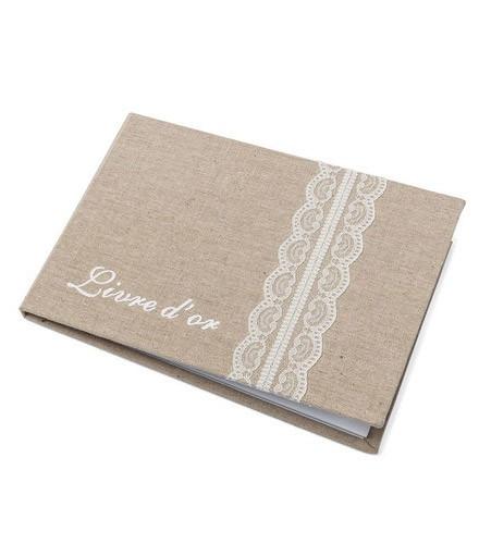 Livre d'or mariage lin et dentelle blanche