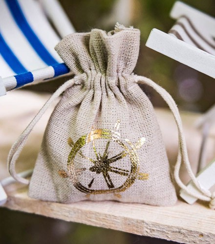 4 sacs à dragées lin beige avec barre