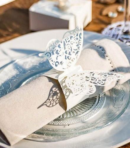 20 ronds de serviette chic papier papillon ajouré coloré