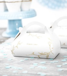 10 boîtes à gâteaux mariage carton chic blanche branches or