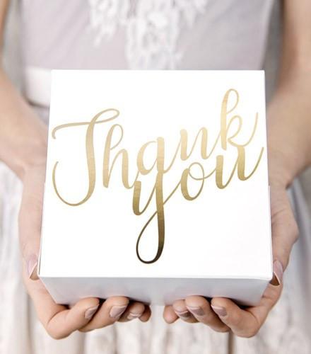 10 boîtes à gâteaux carton blanc carré thank you doré