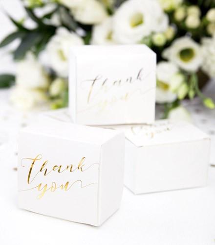 10 boîtes à dragées carton blanc carré thank you doré