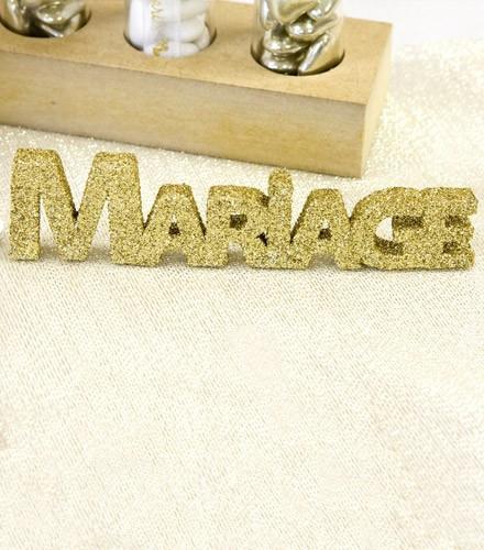 Centre de table mariage pailleté coloré en bois