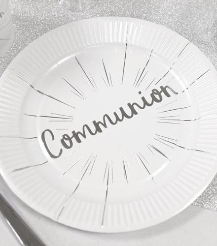 6 assiettes jetables carton Communion argent/or 18 cm