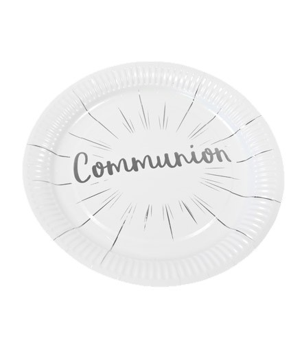 6 assiettes jetable carton Communion or/argent 23 cm