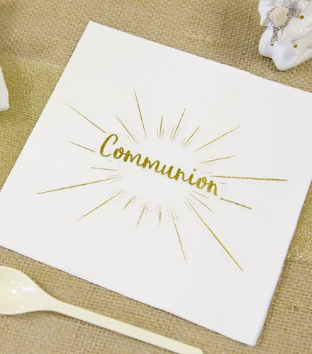20 serviettes jetables papier Communion or/argent