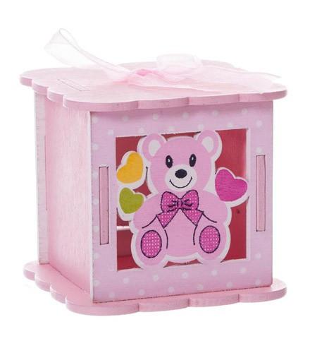 Boîte à dragées baptême bois ourson bleu/rose