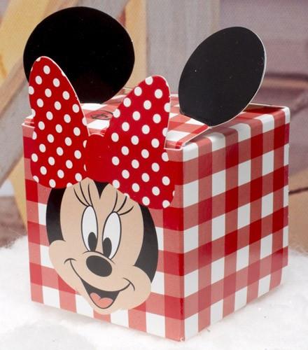 10 boîtes à dragées carton Minnie forme cube