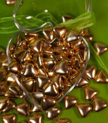 Dragées coeur chocolat pas cher or - 1 kilo