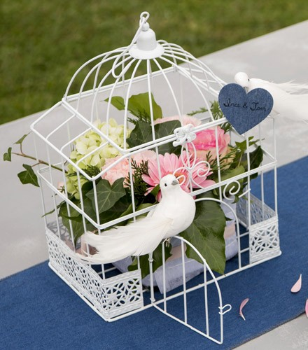 Cage rectangulaire mariage blanche