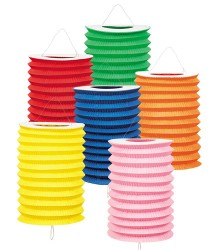 Lampion papier coloré cylindrique 16 cm