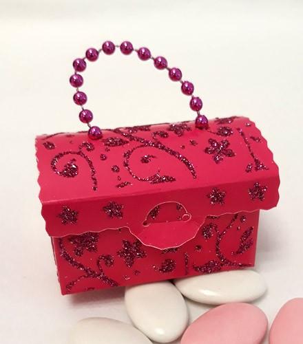 50 Boîtes à dragées sac à main carton fuchsia paillettes