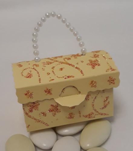 50 Boîtes à dragées sac à main carton ivoire paillettes