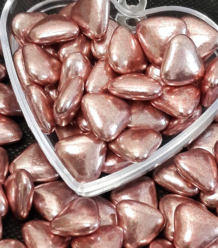 Dragées cœur chocolat Reynaud rose gold – 500g