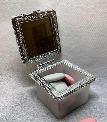 6 contenants à dragées plexi fumé transparent carrés miroir
