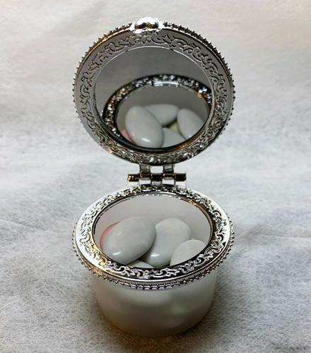 6 contenants à dragées plexi fumé transparent ronds miroir