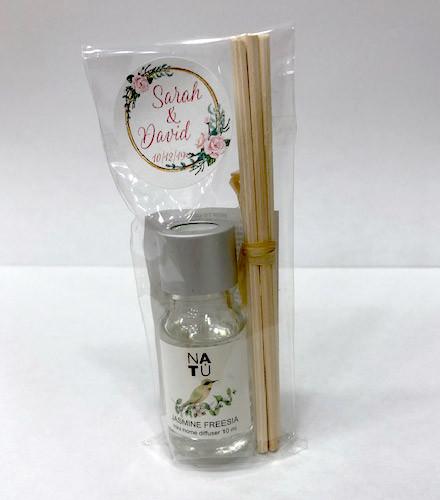 Diffuseur à parfum jasmin/lavande bâtons et étiquette personnalisée