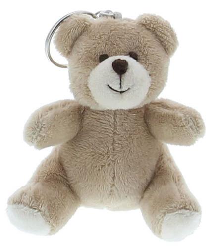 Porte-clés baptême ours en peluche beige