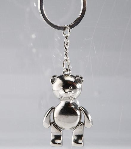 Porte-clés baptême ourson argenté