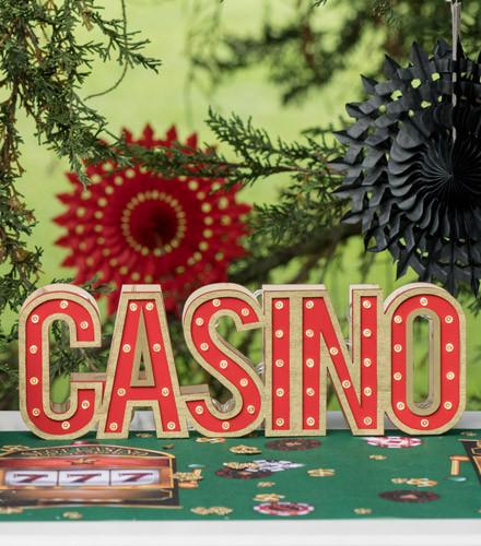 Centre de table casino lumineux bois