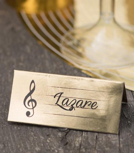 10 marque-places carton musique dorés