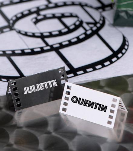 10 marque-places pellicule cinéma carton noir/blanc