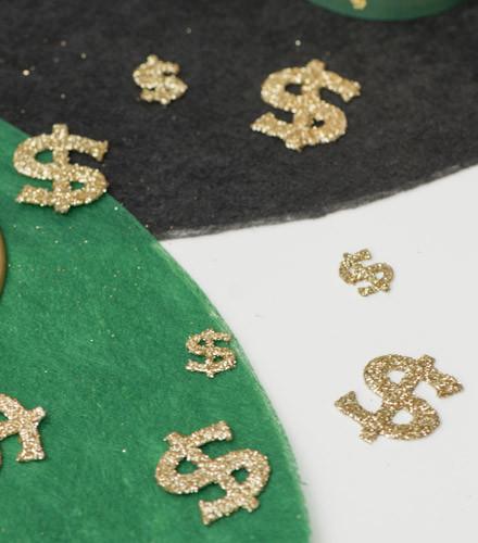 20 confettis de table dollar or pailletés