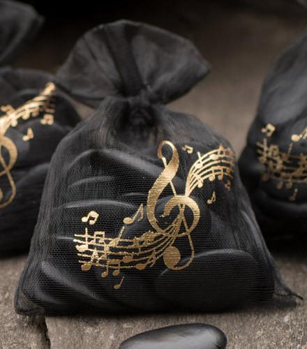 6 sacs à dragées organdi musique noirs