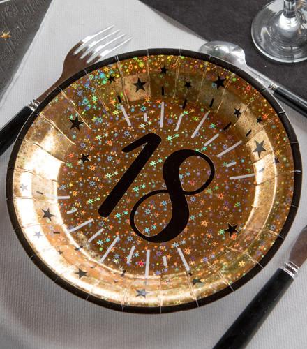 10 assiettes jetables anniversaire âge holographique or