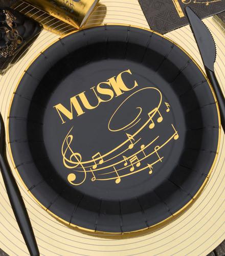 10 assiette jetables carton fête musique