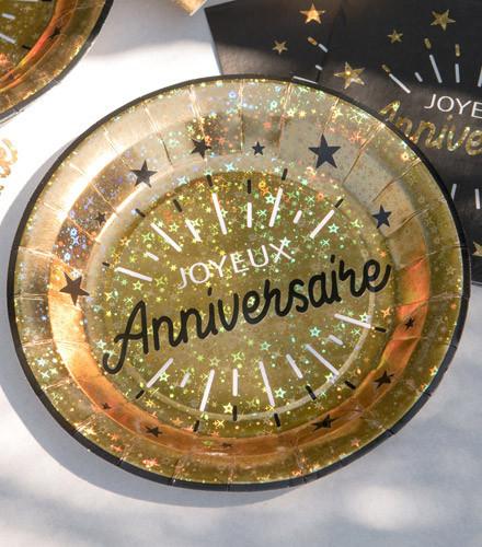 10 assiettes jetables carton anniversaire holographique or/argent